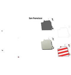 San francisco city and county california outline vector