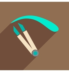 Flat icon with long shadow women eyebrow tweezers vector
