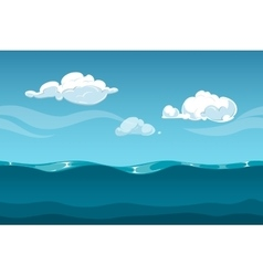 Sea or ocean cartoon landscape with sky and clouds vector