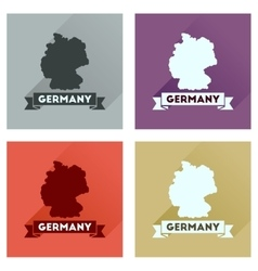 Concept flat icons with long shadow germany map vector