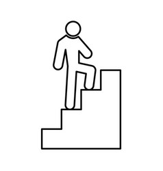 a man climbing stairs black color icon vector image vector image