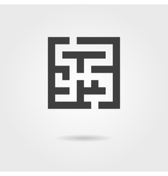 black labyrinth icon with shadow vector image vector image