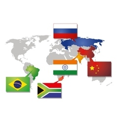Brics icon with flags vector image vector image