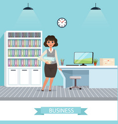 Businesswoman with project plans and rolled vector