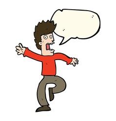 Cartoon frightened man with speech bubble vector