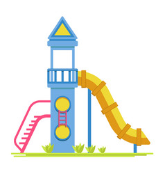 Children rocket with slide on playground isolated vector
