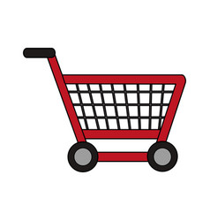 Color image cartoon shopping cart with wheels vector