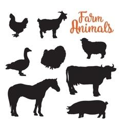 Diverse collection of farm animals black contour vector