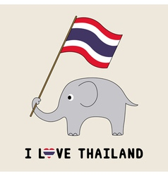 Elephant hold thai flag3 vector