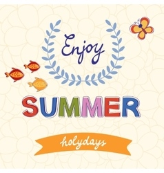 Enjoy summer typography on floral vector image