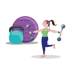 fitness woman ball barbell weight vector image