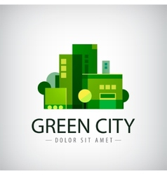 Green city buildings eco icon vector