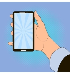 Hand holding smart phone on blue background vector