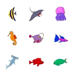 Ocean fish icons set cartoon style vector image vector image