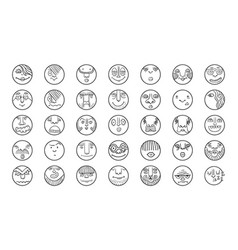 People face cartoon circle icones vector