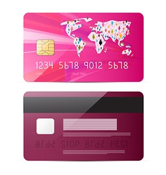 Pink credit card isolated on white backgroun vector