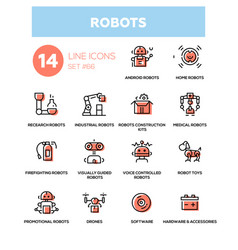 Robots - line design icons set vector