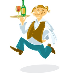 Running waiter vector image vector image