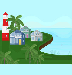 sea coast view seaside with palm trees vector image vector image