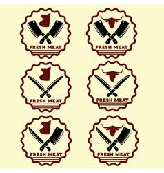 set of fresh meat emblems vector image