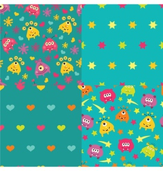 Set of patterns with monsters vector image