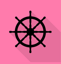 ship wheel sign black icon with flat style shadow vector image vector image