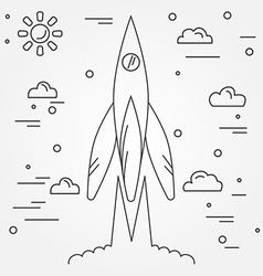 Startup Rocket thin line icon Human Space Flight vector image vector image