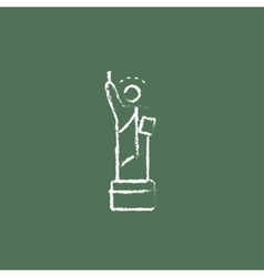 Statue of liberty icon drawn in chalk vector