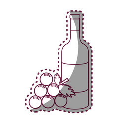 Sticker line bottle of wine with bunch of grapes vector