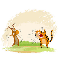 tiger snarls on elk vector image