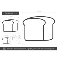 Toast bread line icon vector