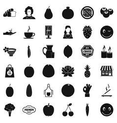 Vegetarian burger icons set simple style vector