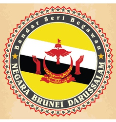 Vintage label cards of Brunei flag vector image