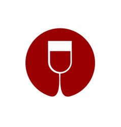 Wine glass logo sommelier emblem abstract red vector
