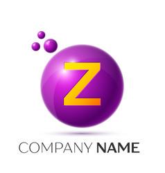 Z letter splash purple dots and circle bubble vector