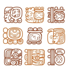 Maya glyphs writing system and languge design vector
