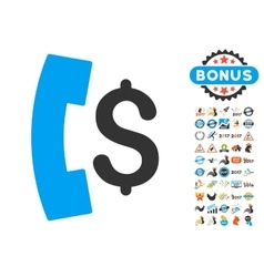 Pay Phone Call Icon With 2017 Year Bonus Symbols vector image