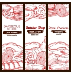 Sausage food and meat on sketched banner vector