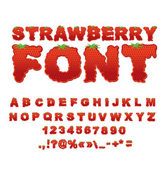 Strawberry font berry abc red fresh fruit vector
