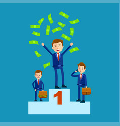 Managers on top places with money rain flat theme vector