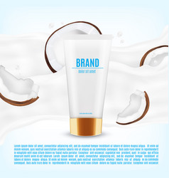 Realistic cosmetic container with coconnut slice vector