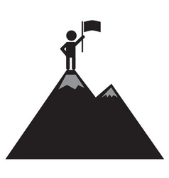 A man on the mountain top icon on white vector
