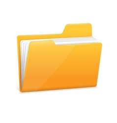 Yellow file folder with documents vector