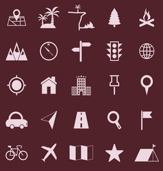 Location color icons on red background vector