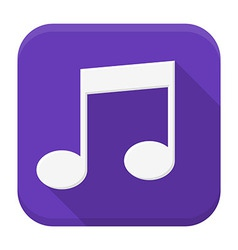 Music white note flat app icon with long shadow vector