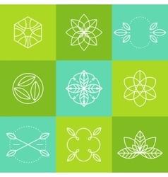 Ecology icons set labels organic natural vector