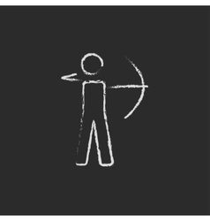 Archer with bow icon drawn in chalk vector