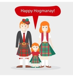 Scots people congratulations happy new year vector