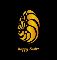 Greeting card with golden easter egg-5 vector