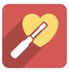 Heart tuning flat rounded square icon with long vector